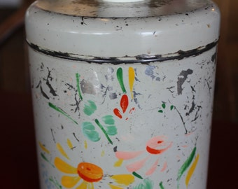 Vintage Ransburg Asters Hand Painted Metal Tin (large)