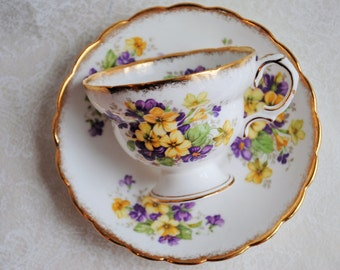 ROSINA Purple and Yellow Violets Vintage Bone China Tea Cup and Saucer/Purple Yellow Teacup