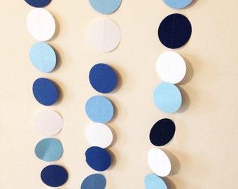 Shades of blue and white paper circle garland, wedding garland, bridal and baby shower garland, party garland,