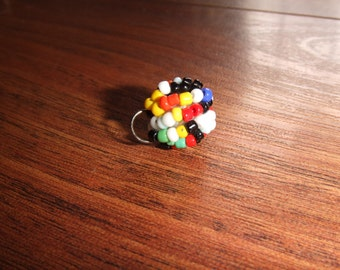 Vintage Seed Bead Colorball Pendant