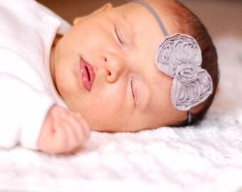 Gray bow headband, baby headband, child headband, vintage headband, adult headband
