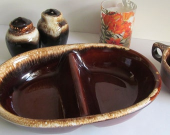 Hull Pottery Brown Drip Divided Casserole Serving Dish USA Pottery Brown Drip Pottery Mid century Dining Bakeware Casserole Dish