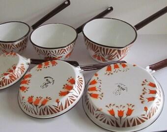 6 Rare Poland Enamelware Pans Schindler Enamelware Antique Farmhouse Kitchen Decor Set Polish Dish Orange Enameware Hand painted enamel ware