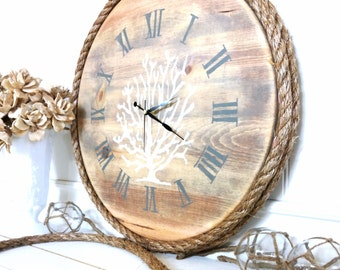 Meet Me Bye The Sea Nautical Coral Clock
