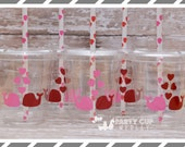 Valentine Party Cups-Whale Love Party Cups-Set of 12