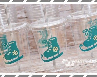 Ice Skate Birthday Party, Set of 8 or 12 You Choose Party Cups, Favor Cups or Reusable Souvenir Cup