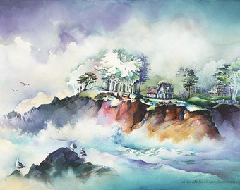 The Wind and the Sea - North Point Depoe Bay, Oregon Watercolor Painting Print. Cyan. Negative Painting. Ocean Waves. Seagulls. Cool Colors.