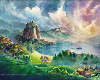 The Columbia River Gorge at Beacon Rock- Watercolor Print. Pacific Northwest Painting. Green. Blue. Washington State Art. Trees. Cape Horn.