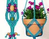 Indoor Plant Hanger, Turquoise, Macrame Plant Holder for 6 Inch Pot, Decorative Rope Hanging Planter, Boho Kitchen Garden Décor