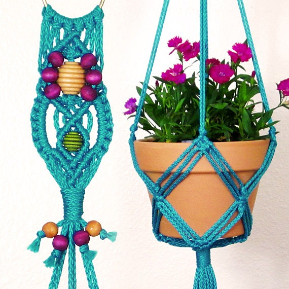 Indoor Plant Hanger Turquoise Macrame Plant Holder For 6