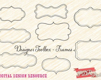 Digital Shapes and Frames Commercial Use, Wedding Clip Art, Scrapbooking, Journal Tags, Border Clipart