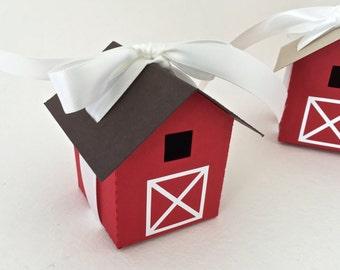 Mini Barn Favor Box/ Luminary Set of 12