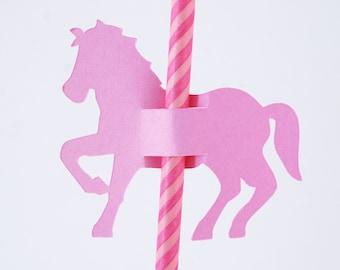 Carousel Horse Straw Holder sleeves Set of 30