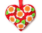 """Valentine's Day Ornament """"Flowery Heart"""" made out of felt . Decorated with beads. Heart cushion"""