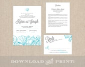 Beach Themed Wedding Invitation Suite: Invitation, Response Card & Info Card - Downloadable Files