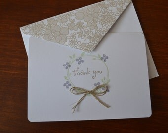 Wedding Thank You Cards With Purple Flower Wreath-Set of Five