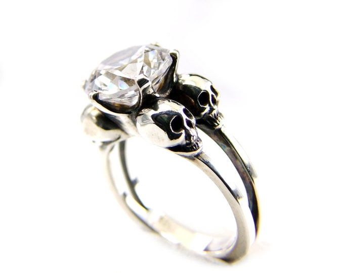 Skull Ring Valentines Gift Size 7 READY TO SHIP Silver Diamond Skull Ring Goth Engagement Ring White Lab Diamond Womens Ring Psychobilly