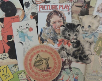 Lot of 12 CAT LOVERS Vintage & Victorian Die Cuts for Crafts ~ Lot A10 ~ Free Shipping ~ Cats