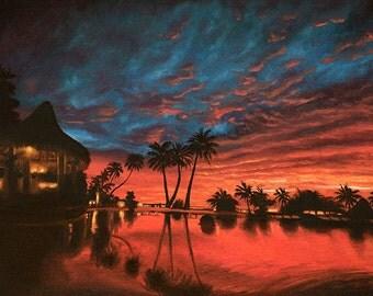 Hawaii Tropical Summer Sunset Kauai Fine Art Oil Painting Print Wall Decor 8x10 or 8.5x11 or 11x14 inches