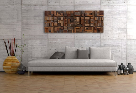 Wood wall art of geometric shapes by for Living room 5x3