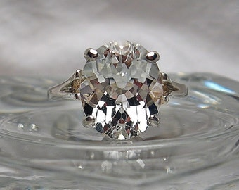 Beautiful Natural White Topaz 12x10mm Oval Cut Solitaire .925 Sterling Silver Ring Made to Order