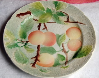 Keller and Guerin Plate - France, Majolica, Peaches & Greenery, Kitchy - Vintage - Stunning!