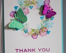 Thank You Card- Individual- A2 Size Card- Handmade- Floral Wreath & Butterfly Greeting Card