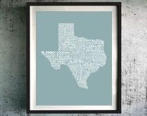 Texas Typography Map Print, Texas Art Print, Texas Wall Art, Texas Typographic Map, Custom Texas Map, Texas Poster, Texas Unique Gift