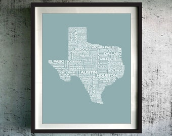 Texas Typography Map Print, Texas Art Print, Texas Wall Art, Texas Typographic Map, Custom Texas Map, Texas Poster, Texas Unique Gift