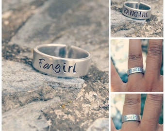 Fangirl Hand Stamped Adjustable Aluminum Ring