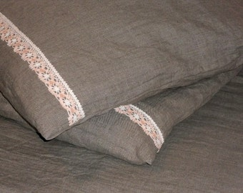 Natural linen pillow case natural gray cushion covers with lace set of 2 linen shams in vintage style