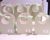 10 Soft green favour boxes - soft green baby shower party favours - baby feet unisex baby shower treat boxes - baby goody boxes - baby feet