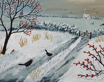 Print of English countryside in winter with snow, and blackbirds from an original acrylic painting 'More Snow on the Way' by Jo Grundy