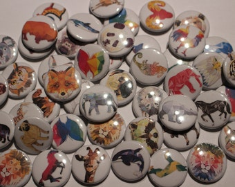 48 Geometric Animals Tattoo Style Buttons Flatback or Pinback 1 inch badge