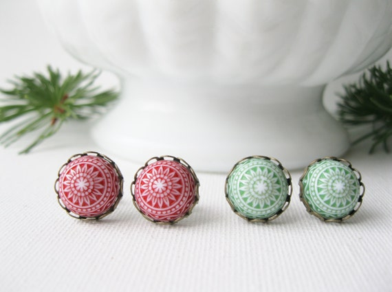 Christmas Post Earrings Set, Red and Green Stud Earrings, Holiday Special, Gift for Girl, Stocking Stuffer, Vintage Mosaic Cabochon