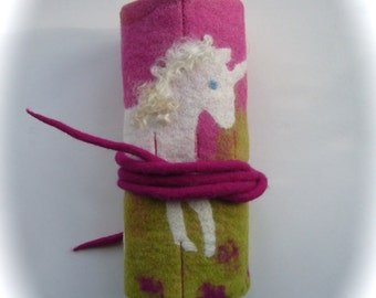 Crayon Roll,Unicorn,Felted Waldorf ,Beeswax,school.Waldorf,Wrap.
