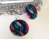 African print round earrings, Dolly mixture print, pink blue