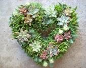 Succulent Heart Wreath 11 inch diameter