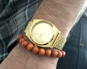 Men's Beaded Bracelet Natural Wood Color