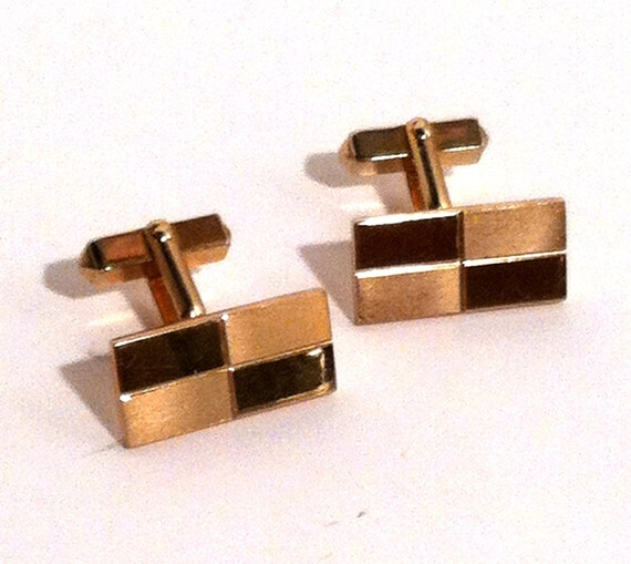 Gold tone cuff links by swank vintage 1940s cufflinks for What is swank jewelry