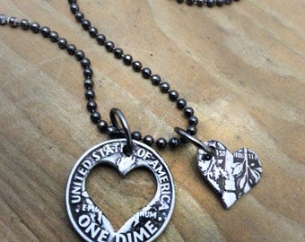 Mother's Day Heart Shaped Dime Necklace Gift for Mom Choose a Year Coin Jewelry Made from a U.S. Dime