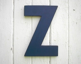 "Wooden Letters Block Style Z 12"" Navy Distressed Vintage Shabby Chic Style Look Kids Wall Art"