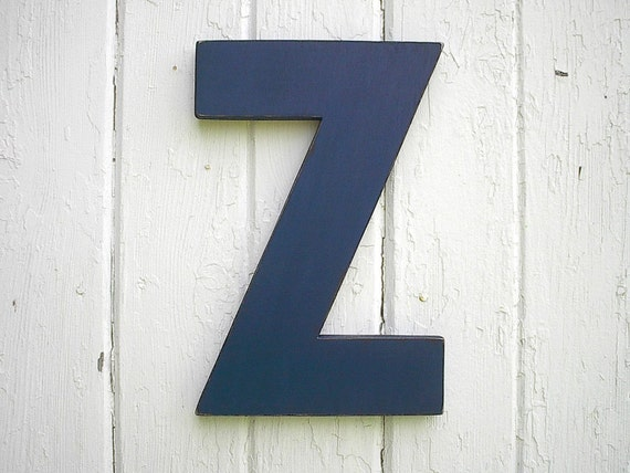 Wall Decor Block Letters : Wooden letters block style z navy distressed vintage