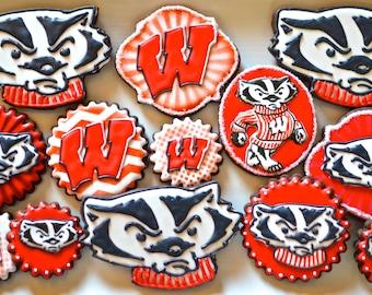 12 Assorted Vegan University of Wisconsin Bucky Badger Inspired Sugar Cookies
