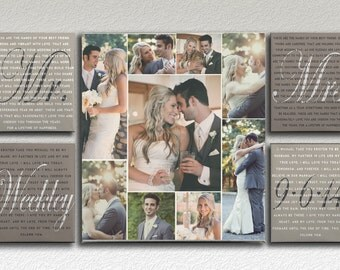 Mr and Mrs Wedding Vows with Photo Collage on Canvas