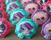 24 Discovery Kids Littlest Pet Shop LPS birthday cupcake party rings great for favors and cake decor Zoe Penny Minka Blythe girl puppy panda