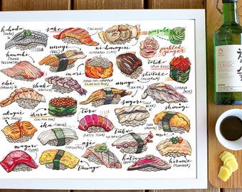 Sushi Print, Illustration, Japan, Food art, Fish, Sashimi, Nigiri zushi, Kitchen Decor, Poster, Asian cuisine, Foodie, Travel.