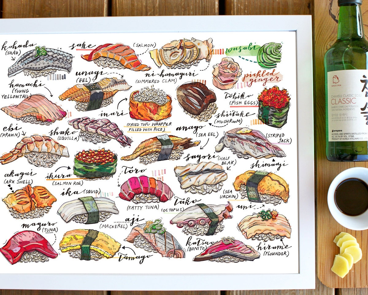 Sushi print illustration japan food art fish sashimi for Sushi fish names