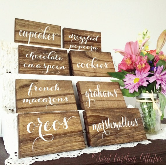 Dessert table wooden labels candy buffet food
