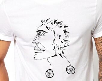 Skater guy shirt, hipster men tee, alternative style, unusual illustration, best friend gift